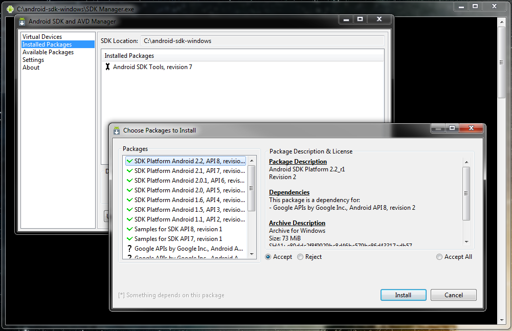 étapes pour installer Android SDK sur Windows 8